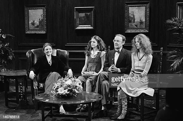 Jane Curtin Gilda Radner as Francine Buck Henry as Dr Richard Dalton Laraine Newman as assistant during How Your Children Grow skit on May 21 1977...