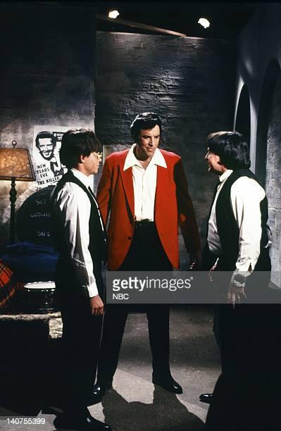 Matthew Broderick as John Lennon Kevin Nealon as Elvis Presley Phil Hartman as Albert Goldman during 'The Five Beatles' skit on October 15 1988 Photo...