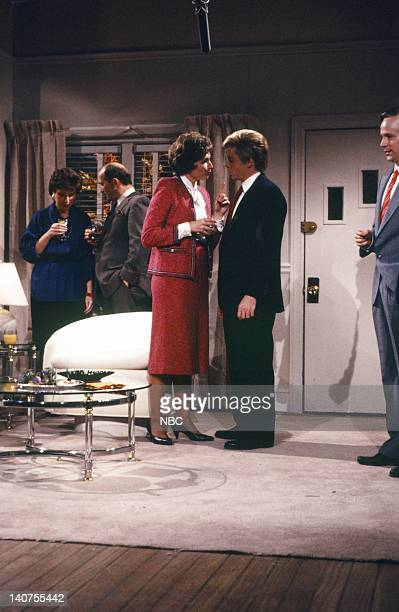 Nora Dunn as Jeane Kirkpatrick Matthew Broderick as Dan Quayle during the 'Seduction' skit on October 15 1988 Photo by NBC/NBCU Photo Bank