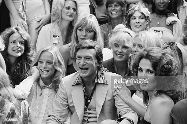 Playboy Playmates Claudia Jennings Monique St Pierre Playboy founder Hugh Hefner Playmates Dorothy Stratten Connie Kreski Angela Dorian celebrating...