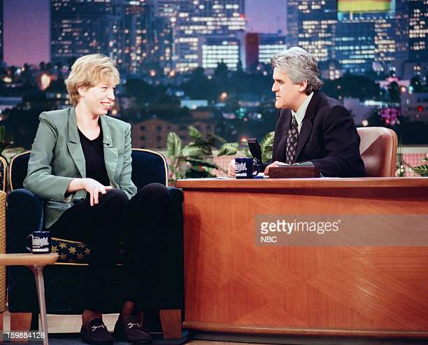 Professional basketball player Margo Dydek host Jay Leno during an interview on June 21 1998