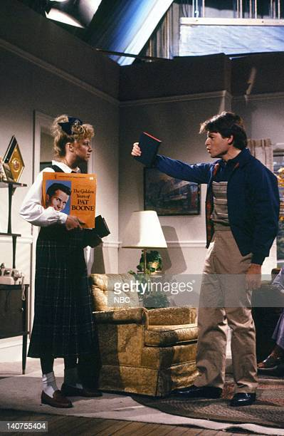 Victoria Jackson as Carla Thumper Matthew Broderick as Dwayne Thumper during 'The Thumper Family' skit on October 15 1988 Photo by NBC/NBCU Photo Bank