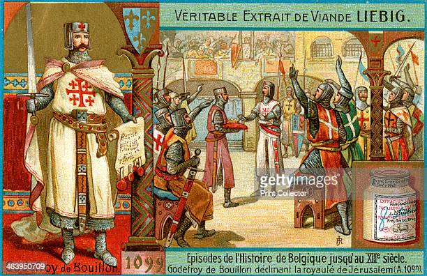 Episodes in the history of Belgium up until the 13th century: Godfrey of Bouillon, . Godfrey of Bouillon declining the monarchy of Jerusalem in 1099...