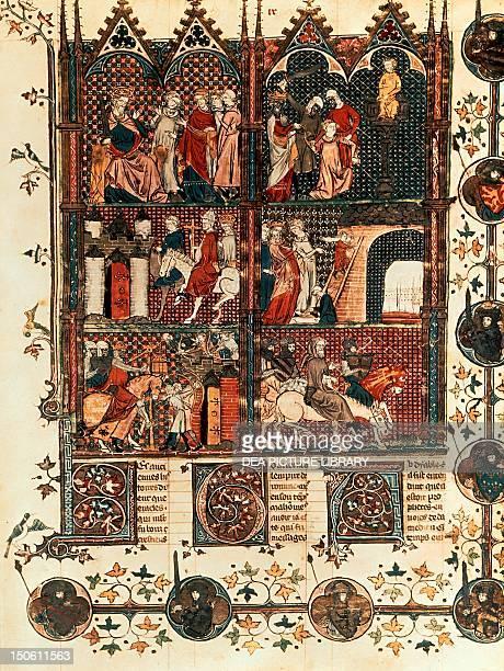 Episodes of the Crusades, miniature taken from the Roman de Godefroi de Bouillon manuscript. Crusades, France, 15th century.