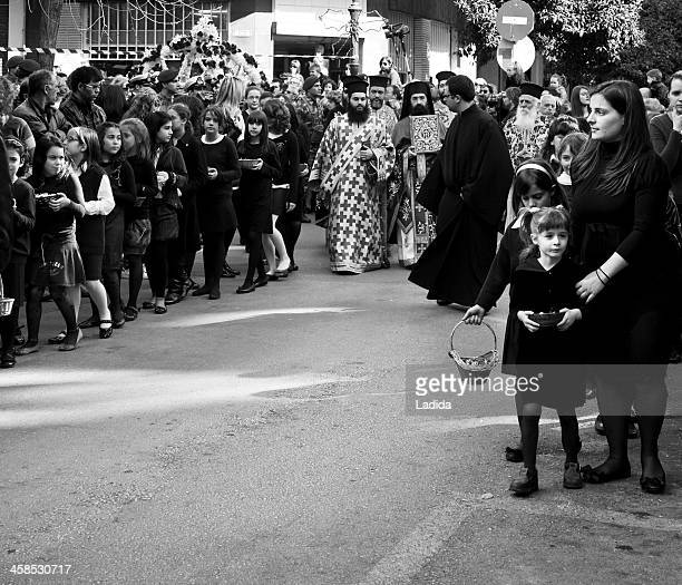 epitaph procession of agios minas church, thessaloniki - greek easter stock pictures, royalty-free photos & images