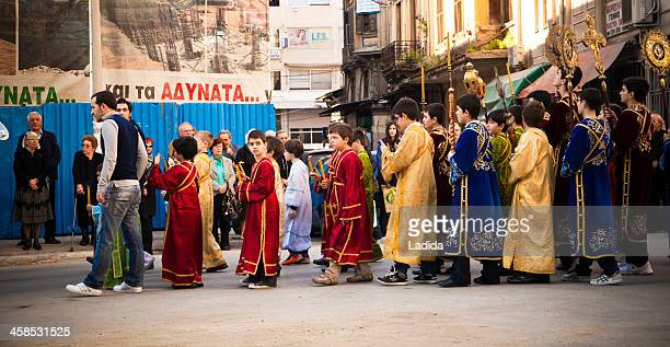 epitaph procession of st minas church, thessaloniki - greek easter stock pictures, royalty-free photos & images