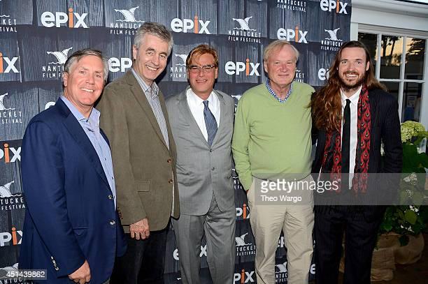 Epix CEO Mark Greenberg director Steve James screenwriter Aaron Sorkin commentator Chris Matthews and director Mike Cahill attend The Screenwriters...