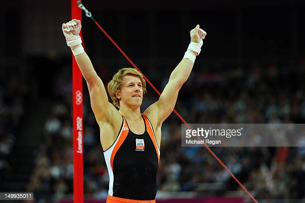 Epke Zonderland of Netherlands celebrates after competing on the horizontal bar on the Artistic Gymnastics Men's Horizontal Bar final on Day 11 of...