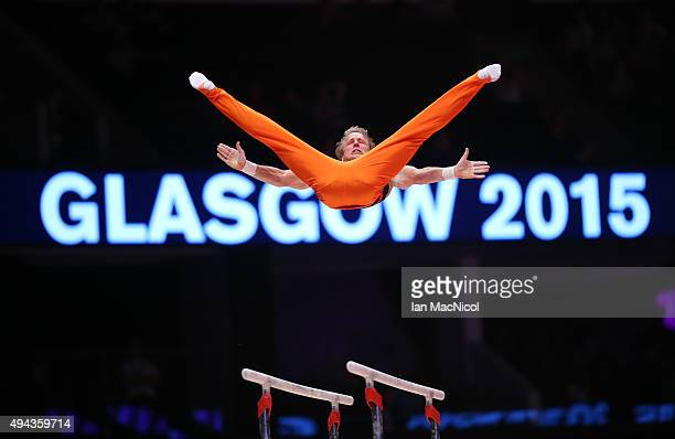 Epke Zonderland of Netherlands competes on the Parallel Bars during day four of World Artistic Gymnastics Championships at The SSE Hydro on October...