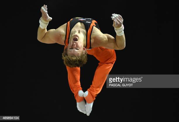 Epke Zonderland of The Netherlands competes in a qualifying round of the Horizontal bar event of the European Men's Artistic Gymnastics Championships...