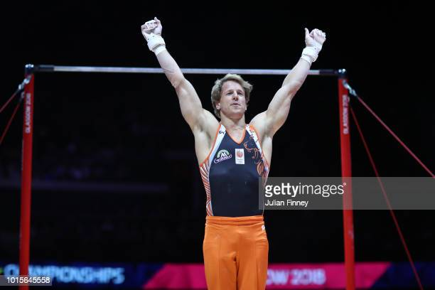 Epke Zonderland of the Netherlands competes in Horizontal Bar during the Men's Gymnastics Final on Day Eleven of the European Championships Glasgow...