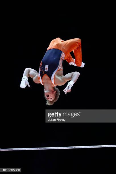 Epke Zonderland of the Netherlands competes in Horizontal Bar in subdivision X on Day Seven of the European Championships Glasgow 2018 at The SSE...