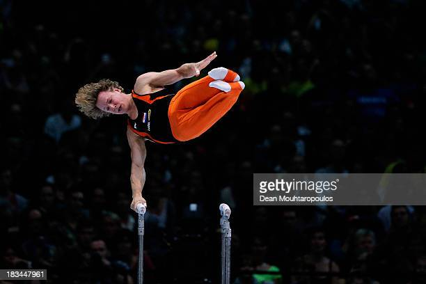 Epke Zonderland of the Netherlands competes in the Parallel Bars Final on Day Seven of the Artistic Gymnastics World Championships Belgium 2013 held...