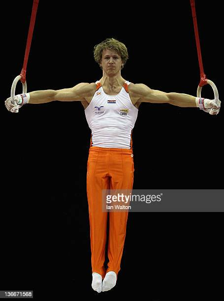 Epke Zonderland of the Netherlands in action on the Ring's during day one of the Men's Gymnastics Olympic Qualification round at North Greenwich...