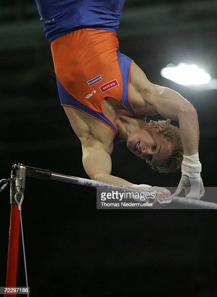 Epke Zonderland of the Netherlands performs at the high bar competition during the 2006 International Gymnastics DTB Cup at the Schleyer Hall on...