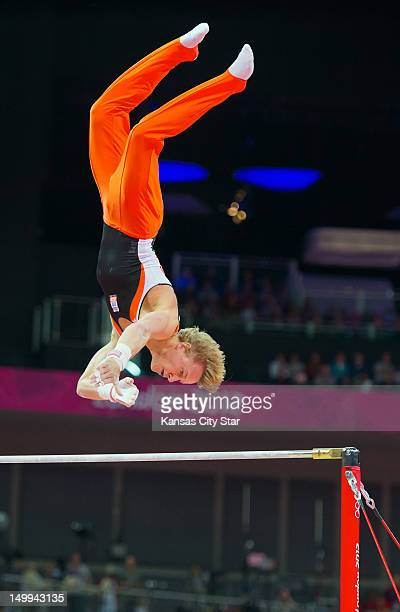 Epke Zonderland of the Netherlands won the gold medal in the men's horizontal bar apparatus finals at North Greenwich Arena during the 2012 Summer...