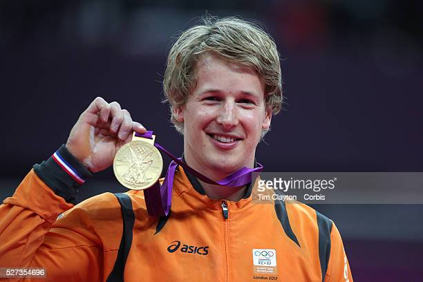 Epke Zonderland The Netherlands during his Gold Medal performance in the Men's Apparatus Horizontal Bar Final at North Greenwich Arena during the...