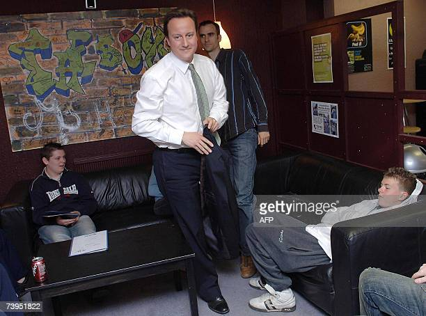 Conservative Party leader David Cameron talks to members of community enterprise initiative 'The Box' in Epping Essex 23 April 2007 where he...
