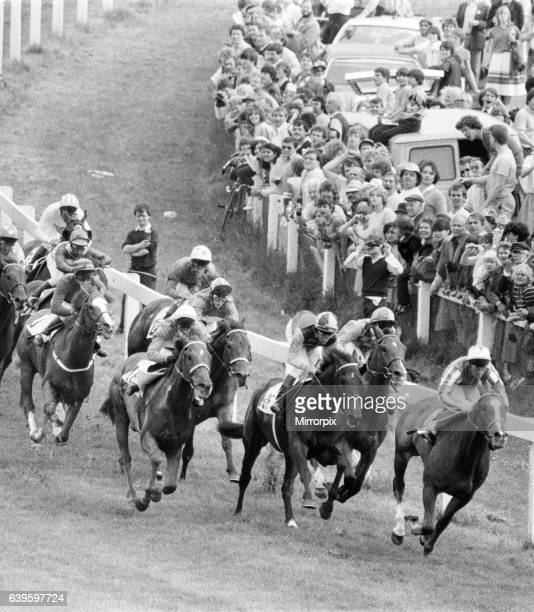 Epsom Derby, June 1983. Lester Piggott about to pounce as they come around the Tattenham Corner.