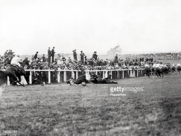Epsom Derby Militant suffragette Miss Emily Davidson throws herself in front of the King's horse at Tattenham Corner Miss Davidson died of the...