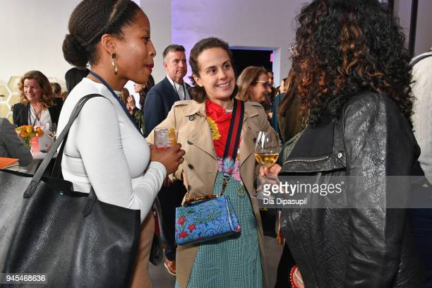 Epytom founder and CEO Anastasia Sartan speaks to attendees during Vanity Fair's Founders Fair at Spring Studios on April 12 2018 in New York City