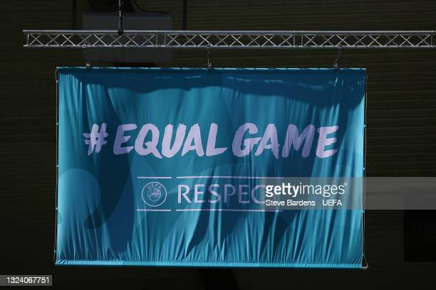 Equal Game Respect banner is seen prior to the Croatia Training Session ahead of the Euro 2020 Group D match between Croatia and Czech Republic at...