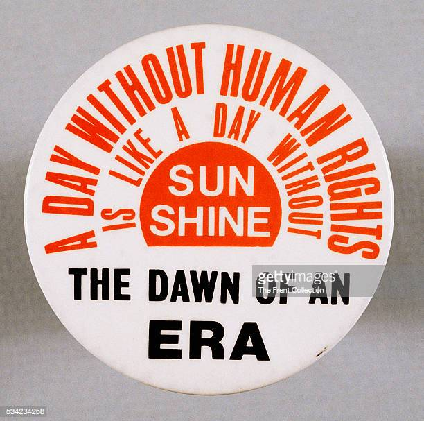 Equal Rights Amendment with a sun motif reading A Day Without Human Rights is Like a Day Without Sunshine