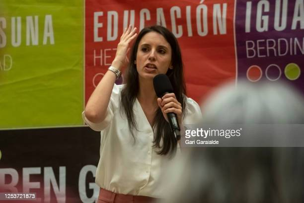 Equality Minister, Irene Montero attends a campaign rally for the 12J autonomic elections at Kursaal on July 01, 2020 in San Sebastian, Spain. The...