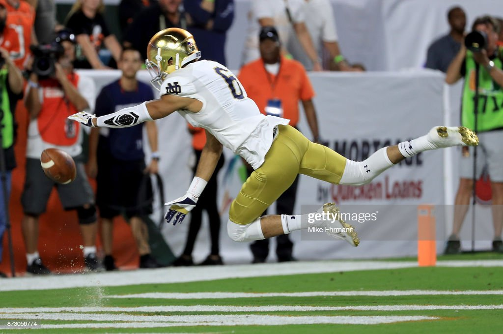 Equanimeous St. Brown #6 of the Notre Dame Fighting Irish misses a pass during a game against the Miami Hurricanes at Hard Rock Stadium on November 11, 2017 in Miami Gardens, Florida.