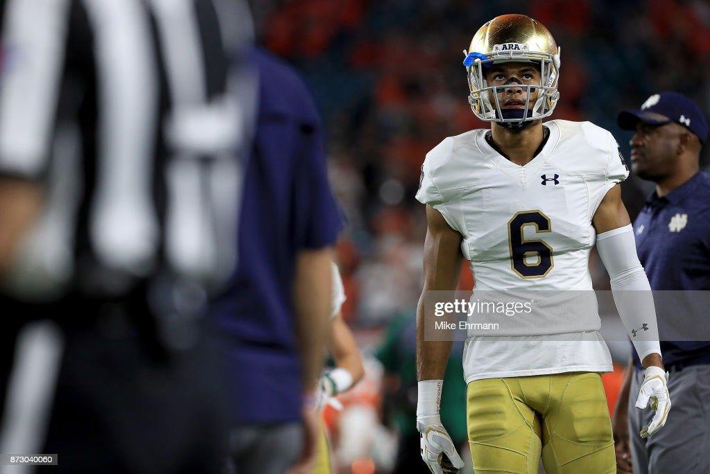 Equanimeous St. Brown #6 of the Notre Dame Fighting Irish warms up during a game against the Miami Hurricanes at Hard Rock Stadium on November 11, 2017 in Miami Gardens, Florida.