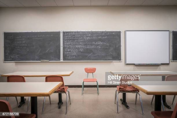 equations on blackboard in empty classroom - classroom stock pictures, royalty-free photos & images
