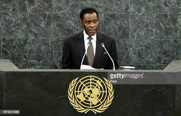 Equatoguinean President Teodoro Obiang Nguema Mbasogo addresses the 68th United Nations General Assembly at U.N. Headquarters on September 26, 2013...