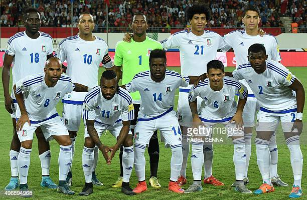 Equatorial Guinea Football team poses for a photo during the World Cup 2018 qualifier football match between Morocco and Equatorial Guinea on...