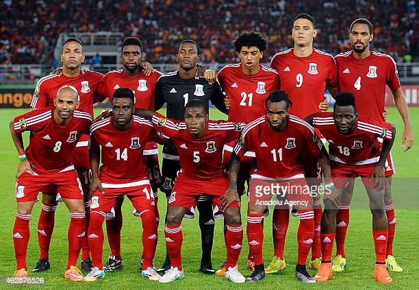 Equatorial Guinea National football team pose for a team photo prior to the 2015 African Cup of Nations quarterfinal football match between...