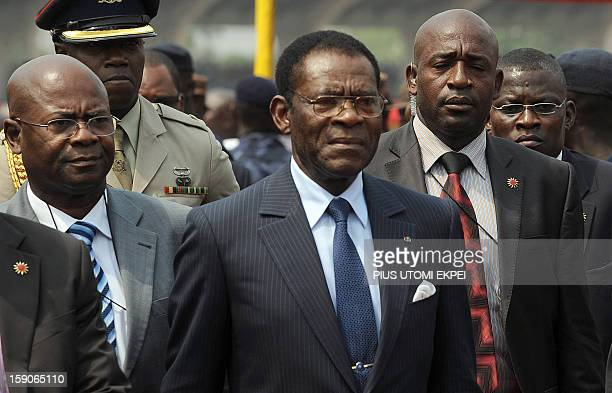 Equatorial Guinea President Obiang Nguema Mbasogo arrives to attend the inauguration of Ghanaian President John Mahama at the Independence Square...