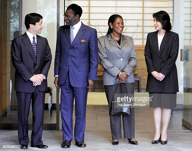 Equatorial Guinea President Teodoro Obiang Nguema Mbasogo and his wife Constancia Mangue are welcomed by Crown Prince Naruhito and Crown Princess...
