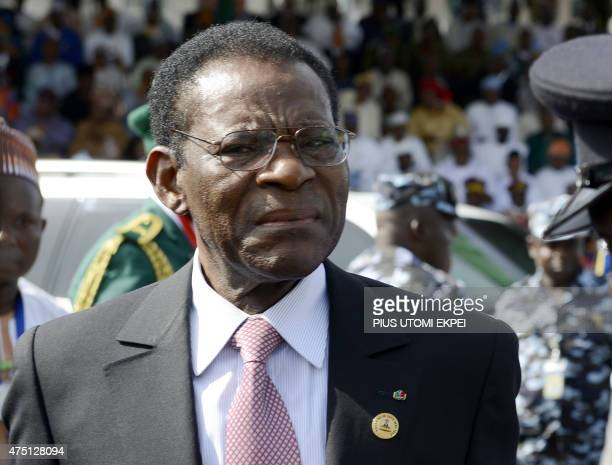 Equatorial Guinea President Teodoro Obiang Nguema Mbasogo arrives to attend the inauguration of Nigerian President Mohammadu Buhari at the Eagles...