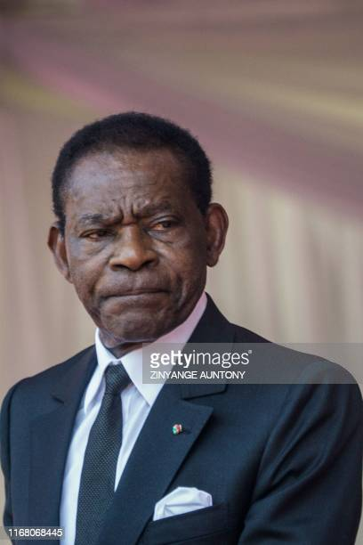 Equatorial Guinea President Teodoro Obiang Nguema Mbasogo delivers a speech during a farewell ceremony for late Zimbabwean President Robert Mugabe,...