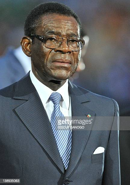 Equatorial Guinea President Teodoro Obiang Nguema walks on the pitch on February 12 2012 before the start of the final match of the 2012 African Cup...