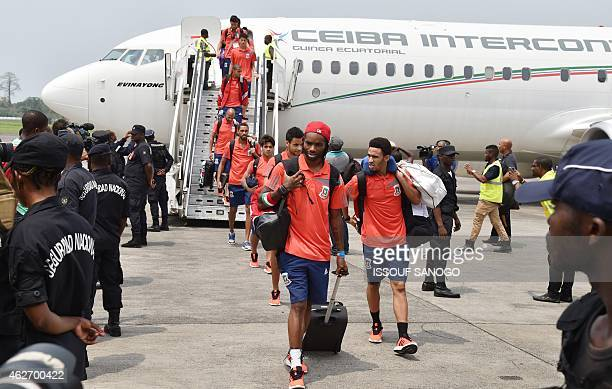 Equatorial Guinea team players arrive at Malabo's airport on February 3 2015 ahead of their 2015 African Cup of Nations semifinal football match...
