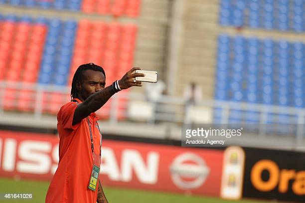 Equatorial Guinea's captain Javier Balboa takes selfie during the training ahead of the 2015 Africa Cup of Nations soccer match between Equatorial...