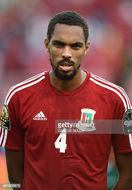 Equatorial Guinea's defender Rui poses ahead of the 2015 African Cup of Nations group A football match between Equatorial Guinea and Burkina Faso in...