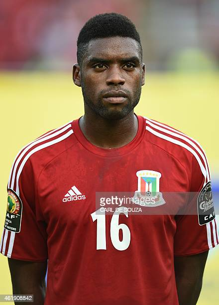 Equatorial Guinea's defender Sipo Bohale poses ahead of the 2015 African Cup of Nations group A football match between Equatorial Guinea and Burkina...