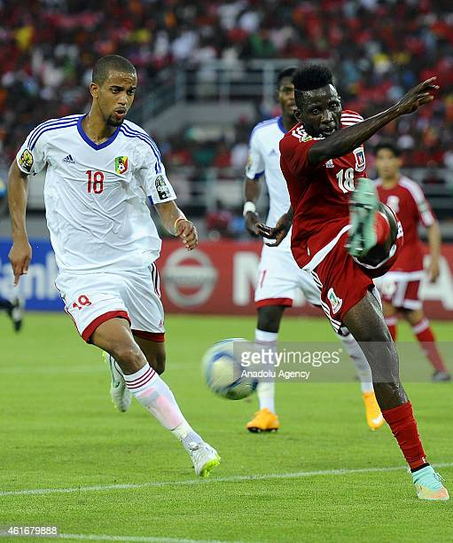 Equatorial Guinea's Doualla Viera vies for ball with Congo's Marvin Baudry during Group A soccer match between Equatorial Guinea and Congo at Bata...