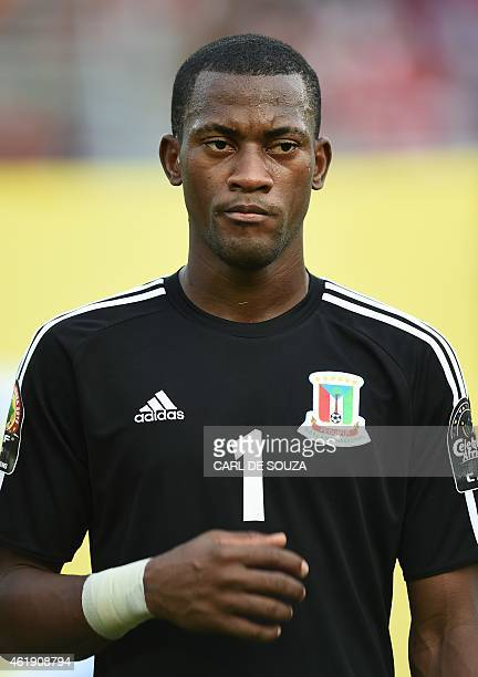 Equatorial Guinea's goalkeeper Felipe Ovono poses ahead of the 2015 African Cup of Nations group A football match between Equatorial Guinea and...