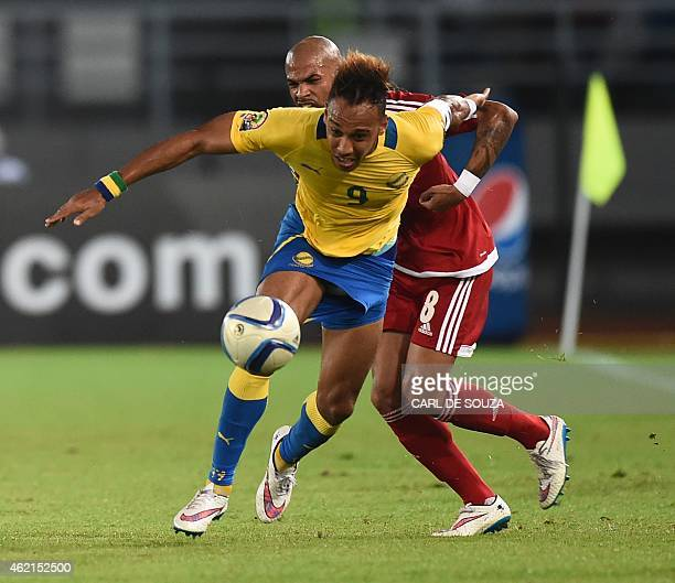 Equatorial Guinea's midfielder Randy vies with Gabon's forward PierreEmerick Aubameyang during the 2015 African Cup of Nations group A football match...