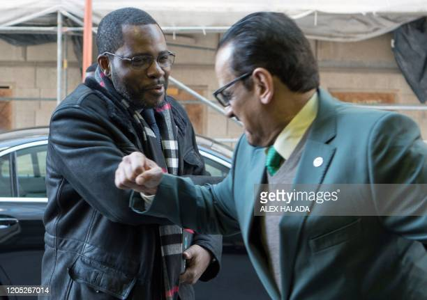 Equatorial Guinea's Minister of Industry Mines and Energy Gabriel Mbaga Obiang Lima elbowbumps as he is greeted arriving for the 178th Organization...