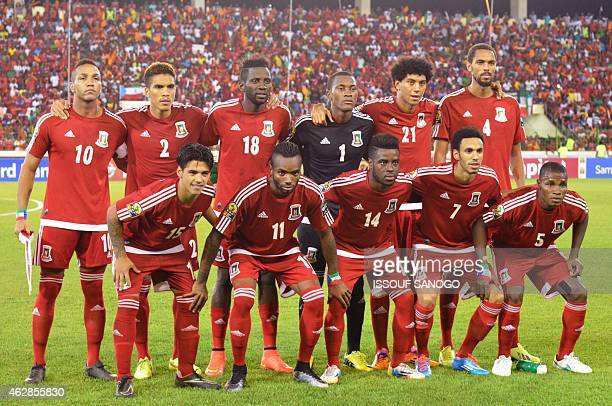 Equatorial Guinea's national football team players pose in Malabo on February 5 before the Africa Cup of Nations semirfinals match between Ghana and...