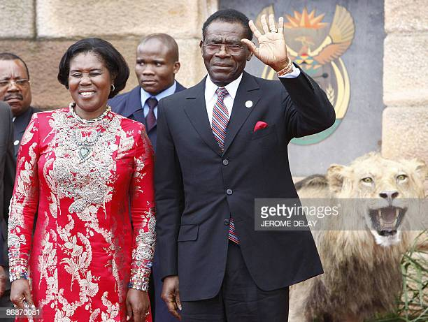 Equatorial Guinea's president Teodoro Obiang Nguema and wife Constancia Mangue de Obiang arrive for the inauguration of South Africa's fourth...