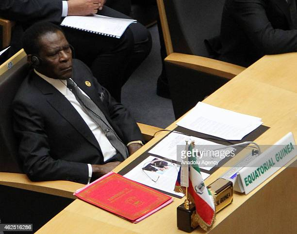 Equatorial Guinea's President Teodoro Obiang Nguema attends the 24th Ordinary Session of the African Unions Heads of State and Government Summit in...